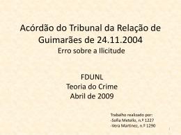Acórdão - Faculdade de Direito da UNL
