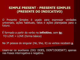 simple present - presente simples (presente do indicativo)