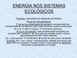 Aula 2 ENERGIA NOS SISTEMAS ECOLÓGICOS