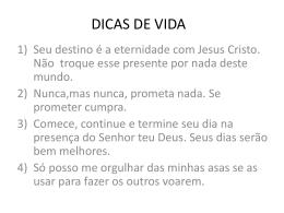 DICAS DE VIDA - Robinson Amorim