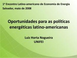 Oportunidades para melhoria das políticas energéticas latino