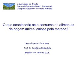 Consumo de alimentos de origem animal x água