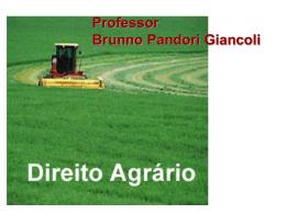 Prof. Brunno Pandori Giancoli DIREITO AGRÁRIO Política Agrária