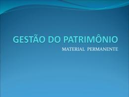 GESTÃO DO PATRIMÔNIO
