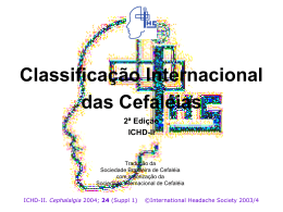 Classificação Internacional das Cefaléias 2ª Edição ICHD-II