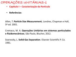 Operações Unitárias em sistemas particulados e fluidomecânicos