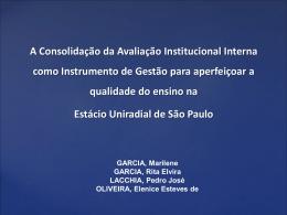 A Consolidação da Avaliação Institucional Interna como