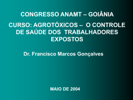 Agrotóxicos: controle de saúde dos