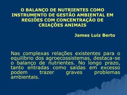 o balanço de nutrientes como instrumento de gestão