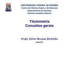 Titulometria - Departamento de Química - UFPB