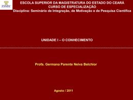 I – O Conhecimento - Governo do Estado do Ceará