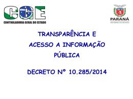 Transparência e acesso a informação - CGE