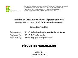 Modelo apresentação TCC IFG