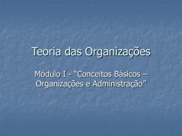 Módulo I - Organizações e Administração