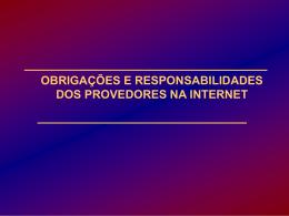 RESPONSABILIDADES DOS PROVEDORES DE SERVIÇOS