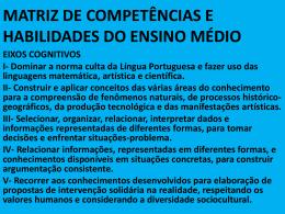 MATRIZ DE COMPETÊNCIAS E HABILIDADES DO ENSINO MÉDIO