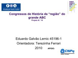"""Congressos de História da """"região"""""""