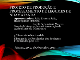 Projeto de produçao e processamento de Legumes de Nhamatanda