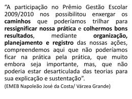 Apresentação PRÊMIO GESTÃO ESCOLAR