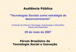 Apresentação do Instituto de Tecnologia Social (ITS)
