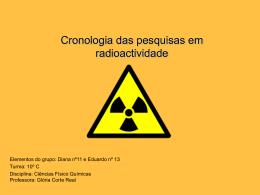 Cronologia das pesquisas em radioactividade