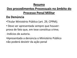 Apresentação 01 (em Power Point) – Direito Processual Militar