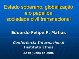 Estado soberano, globalização e o papel da