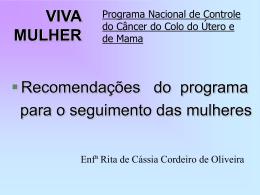 Recomendações do Programa Viva Mulher