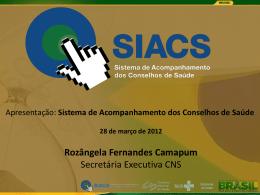 Apresentação Siacs - Conselho Nacional de Saúde