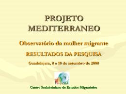 PROJETO MEDITERRANEO Observatório da mulher migrante
