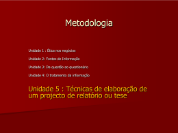UNIDADE 5 - O projecto