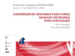 PROPOR 2008 - Linguateca