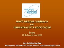 NOVO REGIME JURÍDICO DA URBANIZAÇÃO E EDIFICAÇÃO