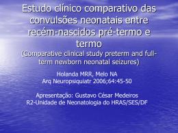 Estudo clínico comparativo das convulsões neonatais entre recém