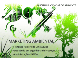 MARKETING AMBIENTAL - Área de Engenharia de Recursos Hídricos