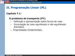 IOO. Capítulo 7.1. O problema de transporte