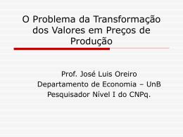 O Problema da Transformação dos Valores em