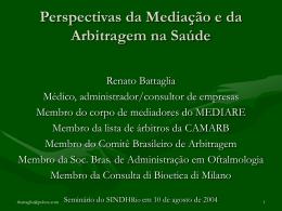 Perspectivas da mediação e da arbitragem na saúde