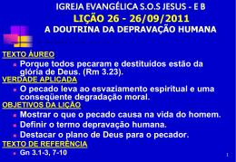 26/09/2011 a doutrina da depravação humana