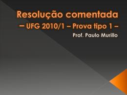 Resolução comentada – UFG 2010/1