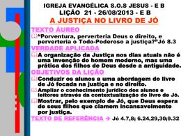 igreja evangélica sos jesus - eb lição 21