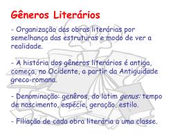 Gêneros Literários - Cursinho Vitoriano