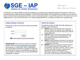 Sistema de Gestão Eclesiástica SGE – IAP