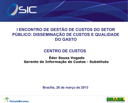Centro de Custos do Novo CPR-STN