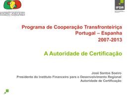 apresentação, representando a Autoridade de Certificação