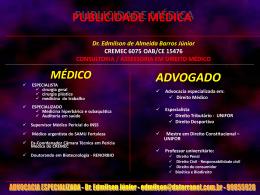 PUBLICIDADE MÉDICA - barros consultoria e assessoria