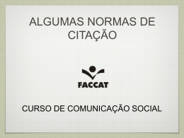 REGRAS SOBRE CITAÇÃO - Curso de Comunicação | Faccat