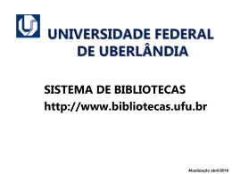 CAMPUS EDUCAÇÃO FÍSICA (FIS) - Sistema de Bibliotecas da UFU