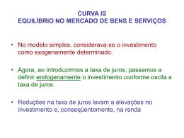 CURVA IS EQUILÍBRIO NO MERCADO DE BENS E SERVIÇOS