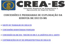 Concessões e Programas de Exploração da Rodovia - CREA-ES